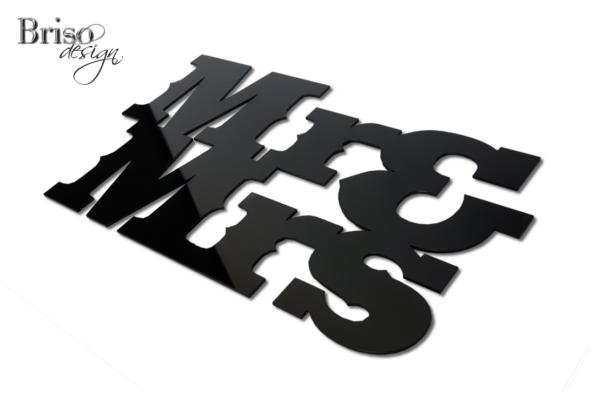 napis na ścianę Mr & Mrs